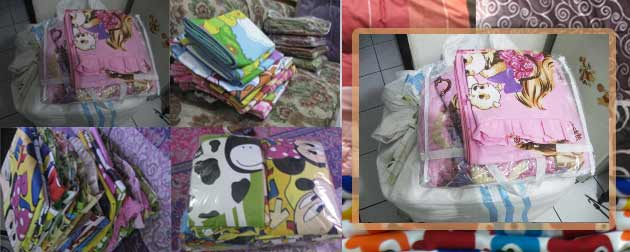 Qty Item Motif Ukuran 1 Sprei+Bed Cover Blue Saphire 200×200 1 Sprei+2 sarung bantal Red Sun Flower 180×200 1 Sprei+2 sarung bantal Blue Elegant 180×200 1 Sprei Rose Boston 180×200...
