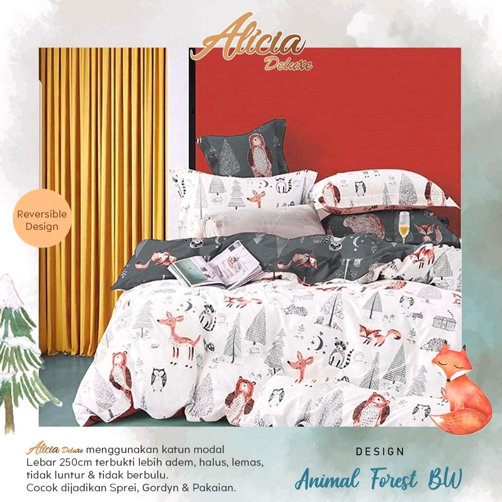 sprei-Bedcover-alicia-animal-forest-bw