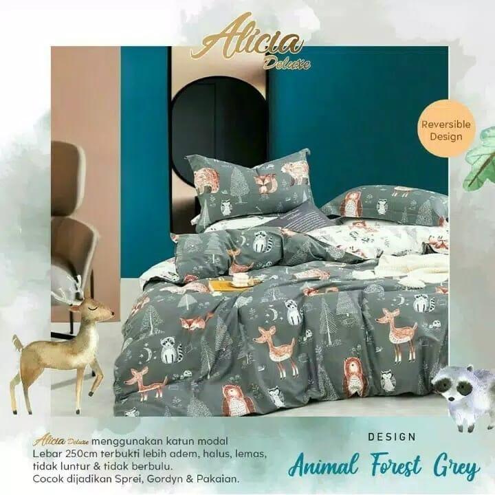 sprei-Bedcover-alicia-animal-forest-grey
