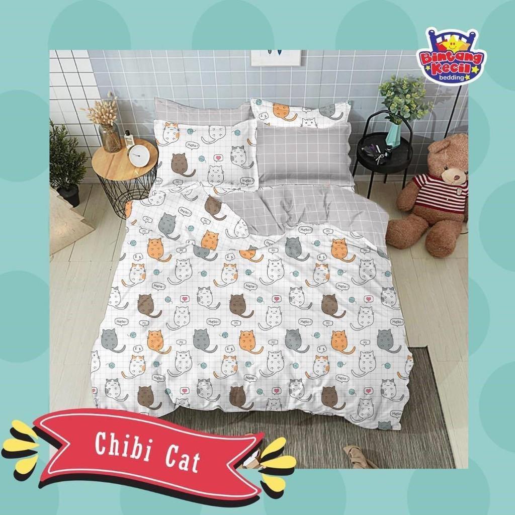 sprei-Bedcover-star-chibi-cat-putih