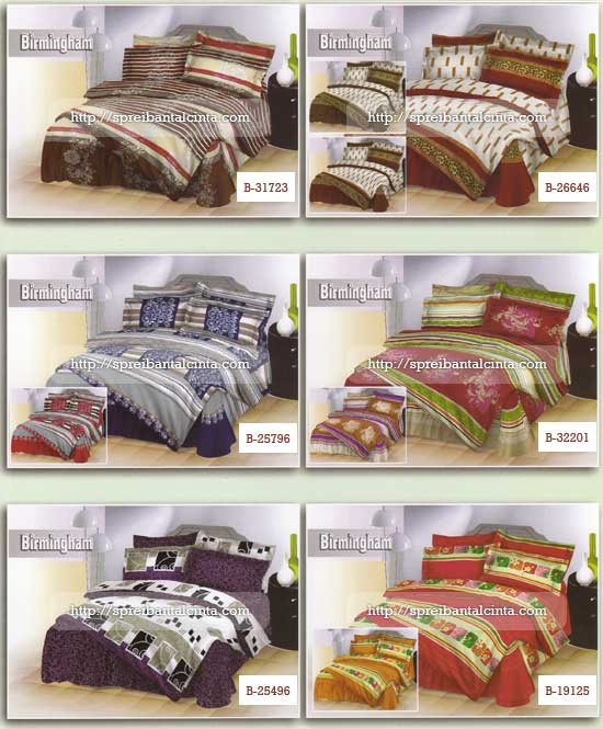Kain sprei dan bed cover yang terbuat dari katun birmingham dengan kode,B31723,B26646,B25796,B32201,B25496,B19125 nyaman, lembut dan sejuk. Motif baru , semakin memperindah kamar tidur anda dan menambah ramai toko Anda. Cocok...