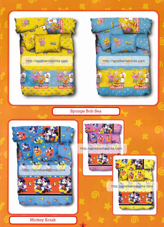 Kain sprei dan bed cover yang terbuat dari katun dengan motif anak-anak/kids spongebob sea, mickey kotak nyaman, lembut dan sejuk. Motif baru , semakin memperindah kamar tidur anda dan menambah...
