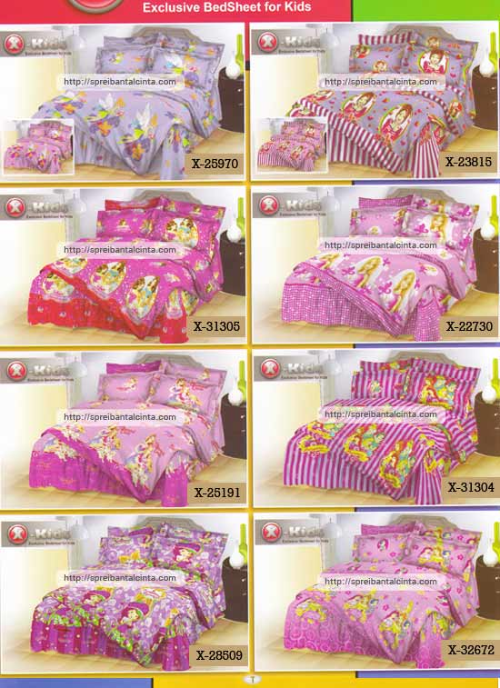 Kain sprei dan bed cover yang terbuat dari katun dengan motif anak-anak/kids tipe-X tinkerbell,minmie,three musketeers princess,barbie bonding,diamond castle,5 princess salur, shortcake bunga,4 princess nyaman, lembut dan sejuk. Motif baru ,...