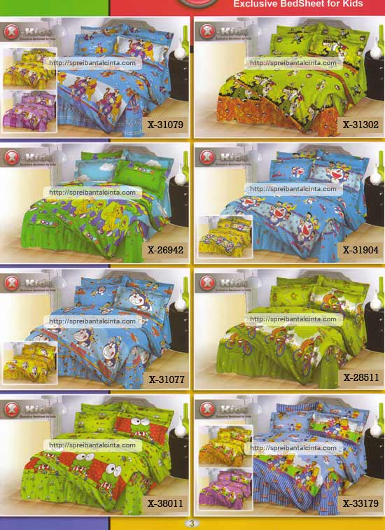 Kain sprei dan bed cover yang terbuat dari katun dengan motif anak-anak/kids tipe-X pooh, ben 10, barney, doraemon,franklin,keroppi,sesame street nyaman, lembut dan sejuk. Motif baru , semakin memperindah kamar tidur...