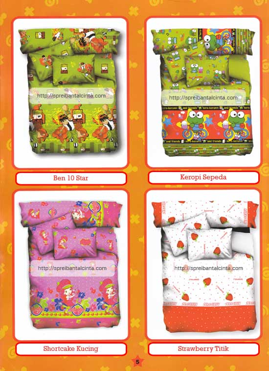 Kain sprei dan bed cover yang terbuat dari katun dengan motif anak-anak/kids ben 10 star, keropi sepeda,shortcake kucing,strawberry titik nyaman, lembut dan sejuk. Motif baru , semakin memperindah kamar tidur...