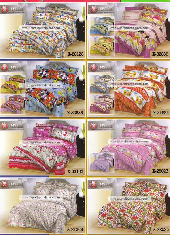 Kain sprei dan bed cover yang terbuat dari katun dengan motif anak-anak/kids tipe-X pooh salur,harajuku,mickey minnie, pooh tiger,kucing marrie,hello kitty,bikini,ikea anak. Nyaman, lembut dan sejuk. Motif baru , semakin memperindah...