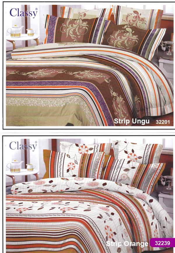 Kain sprei dan bed cover yang terbuat dari katun dengan motif classy 32201 strip ungu &amp; 32339 strip orange. Nyaman, lembut dan sejuk. Motif baru , semakin memperindah kamar tidur...