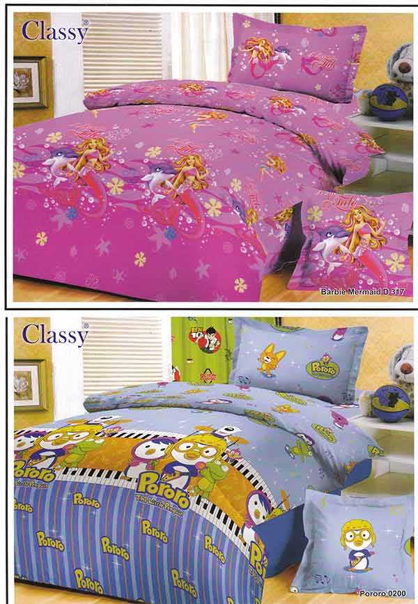 Kain sprei dan bed cover yang terbuat dari katun dengan motif classy barbie mermaid d317,pororo0200. Nyaman, lembut dan sejuk. Motif baru , semakin memperindah kamar tidur anda dan menambah ramai...