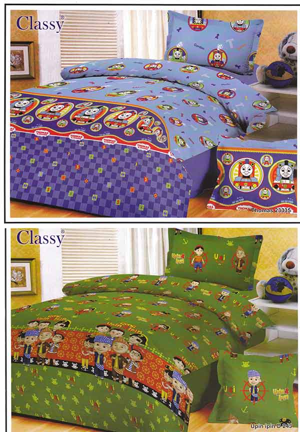 Kain sprei dan bed cover yang terbuat dari katun dengan motif classy thomas,upin ipin. Nyaman, lembut dan sejuk. Motif baru , semakin memperindah kamar tidur anda dan menambah ramai toko...