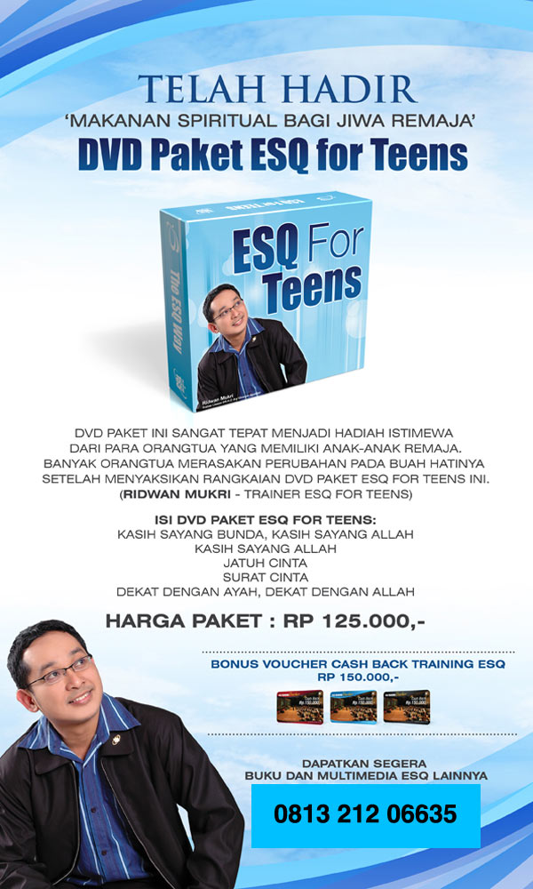 Setelah DVD Paket ESQ dewasa sekarang telah diluncurkan DVD Paket ESQ untuk remaja dengan Kemasan yang menarik dan bagus. Cocok untuk dijadikan gift untuk orang  orang tercinta atau penghargaan...