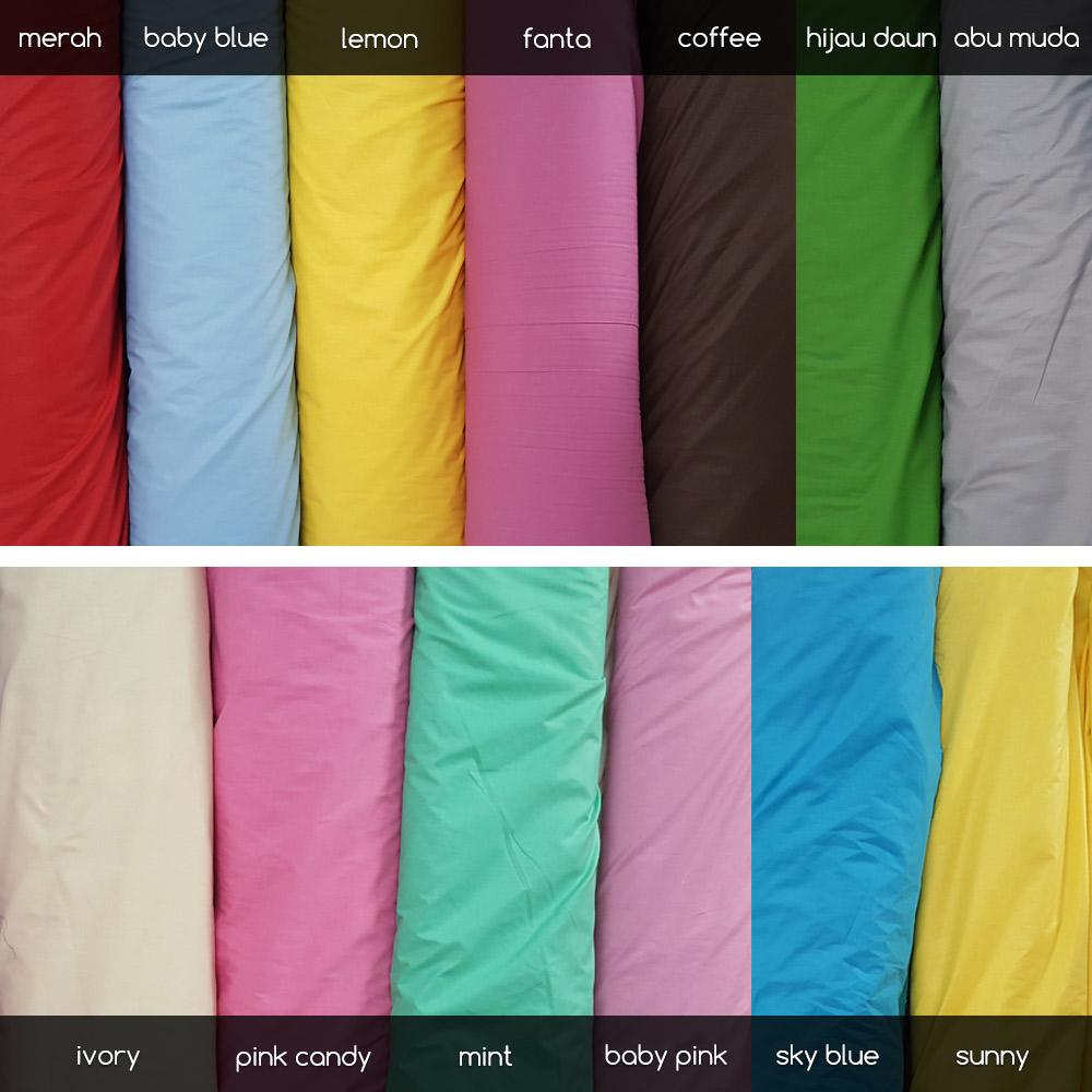 bahan-Sprei-bedcover-polos-2021 - Sunny, Dark Blue, Hijau Daun, Lemon, Baby Blue, Ivory, Pink Candy, Mint