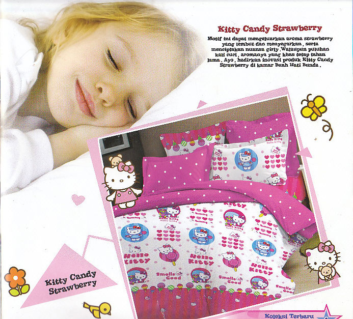 Sprei Bintang Kecil Kitty Candy Strawberry - Motif Bedcover