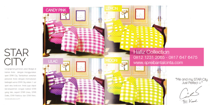 Bed-Cover-Star-City-Midori,-Sprei-Star-Lilac,-Sprei-Star-City-Lemon