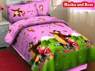Grosir Bedcover Masha ungu pink fortuna