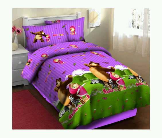Jual Bedcover Masha ungu fortuna