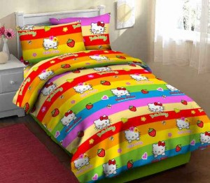 Sprei Motif Kitty pelangi fortuna
