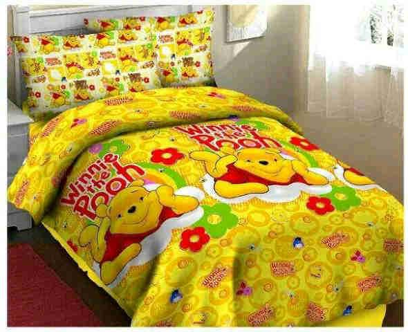Sprei Murah Fortuna, Bedcover murah, Sprei Hello pooh fortuna kuning