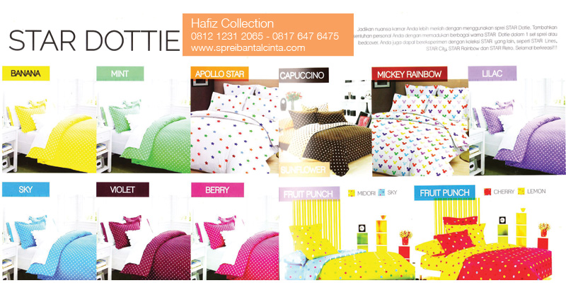 Sprei-Star-Dottie,-Banan,-Violet,-Apollo,-Sky,-MintMickey-Rainbow,-Lilac-Fruit-Punch