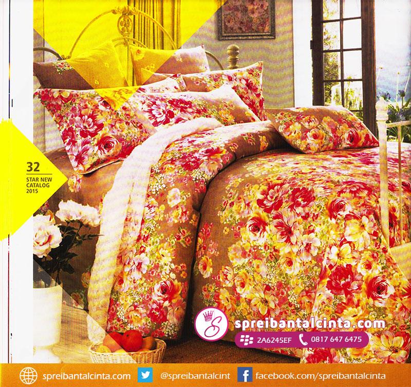 32. Sprei-warna-coklat,-sprei-motif-bunga,-bedcover-motif-bunga