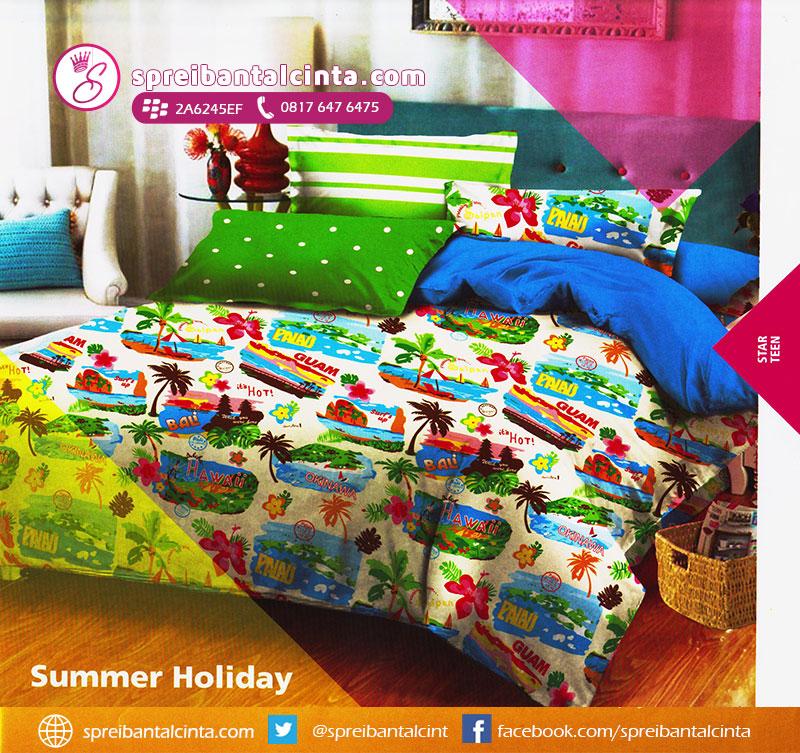 57. sprei-summer-holiday,-sprei-motif-hawaai,-bedcover-buat-hotel,-bedcover-motif-hawaai