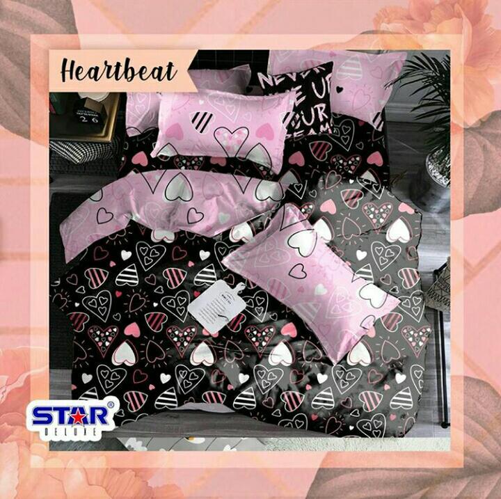 sprei-bedcover-star-heart-beat-hitam