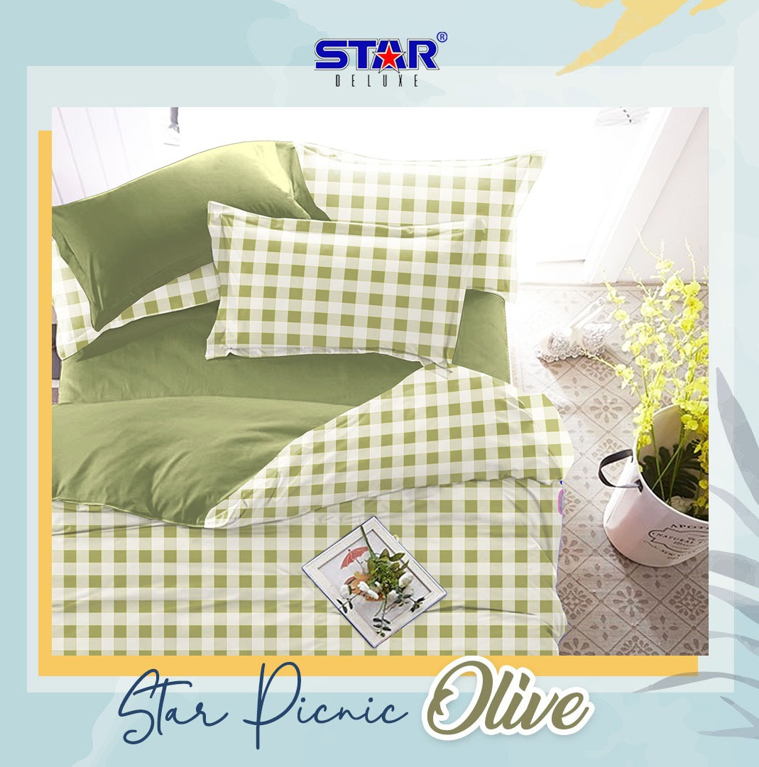 sprei-bedcover-star-picnic-olive