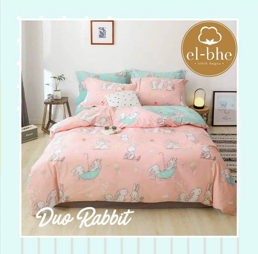 sprei-Bedcover-elbhe-duo-rabbit-pink