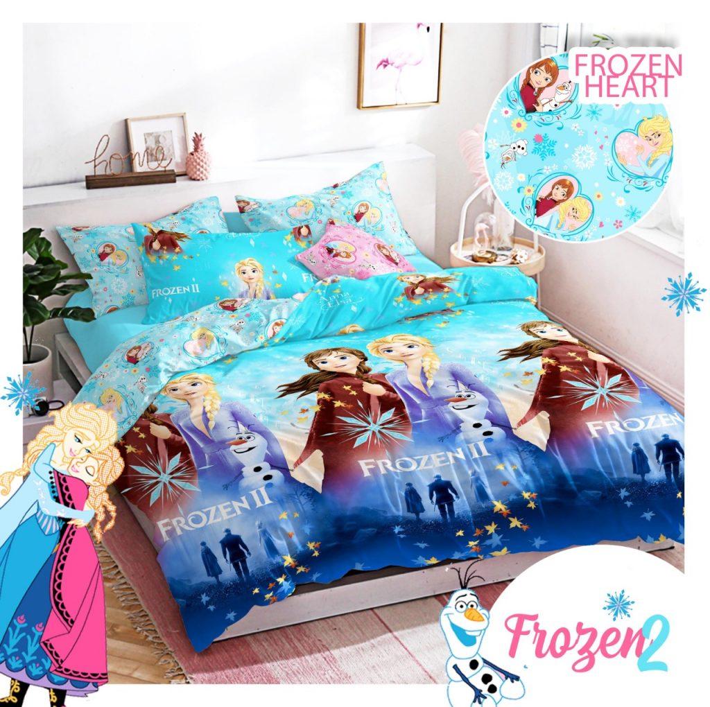sprei-Bedcover-star-frozen-heart-biru