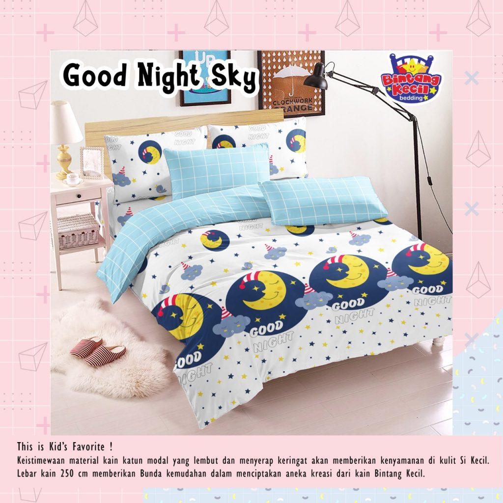 sprei-Bedcover-star-good-night-sky-putih