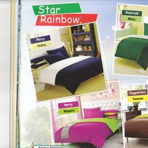 Grosir Sprei Polos - Bintang-Kecil-Pelangi-Polos-Rainbow-navy-lemon-midori