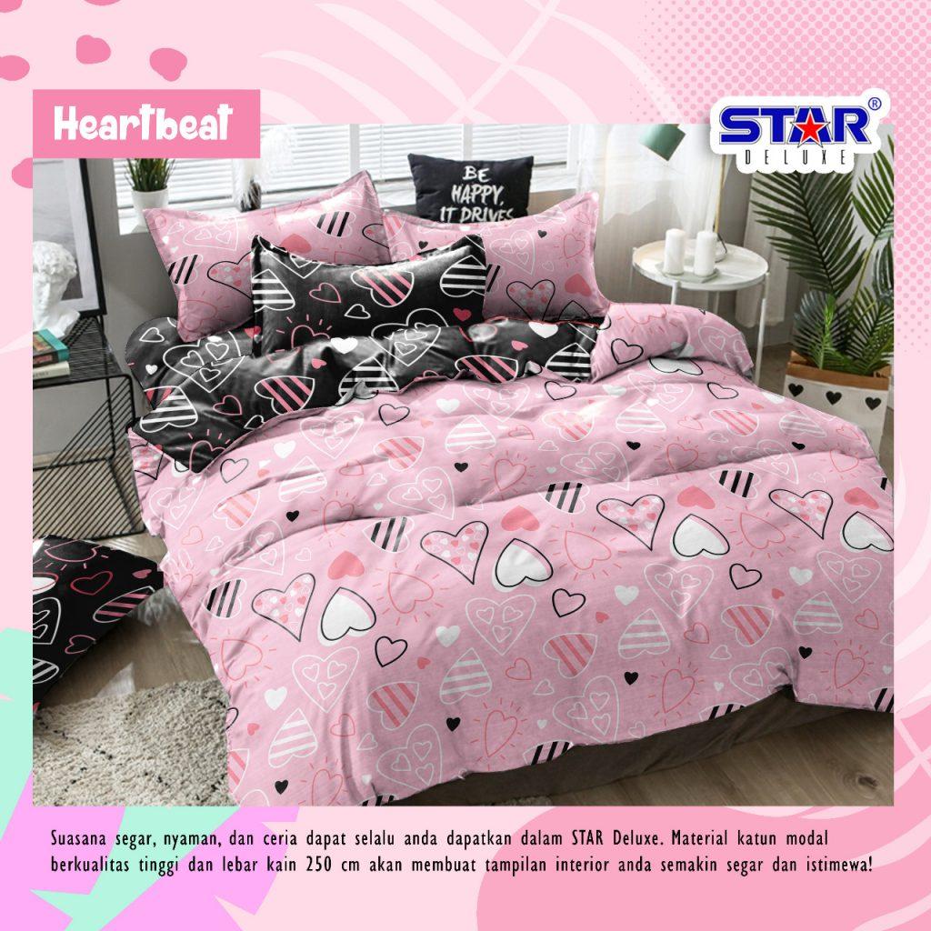 sprei-bedcover-star-heart-beat-pink